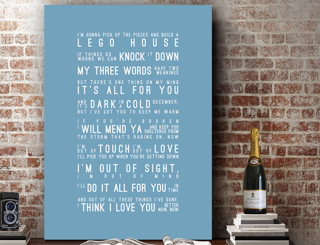 Ed Sheeran Lego House Inspired Lyrics Typography Print