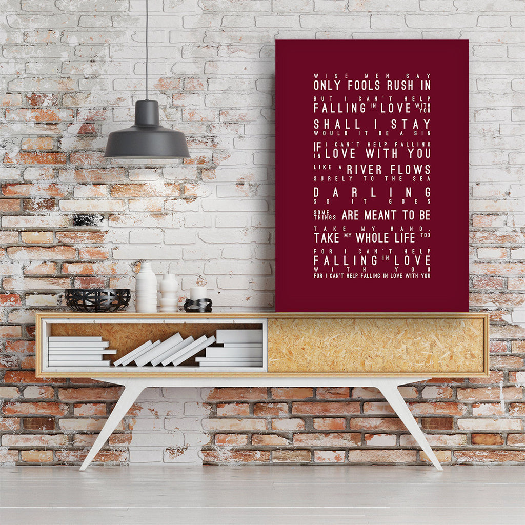 Elvis Presley I Can't Help Falling In Love Inspired Lyrics Typography Print