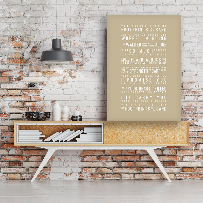 Leona Lewis Footprints In The Sand Inspired Lyrics Typography Print