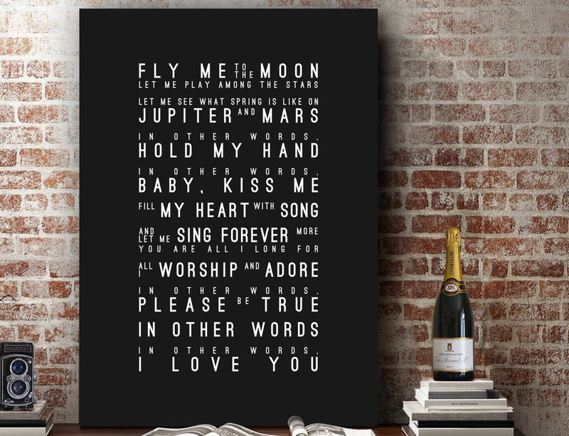 Frank Sinatra Fly Me To The Moon Inspired Lyrics Typography Print