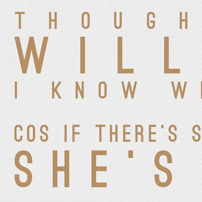 Robbie Williams She's The One Inspired Lyrics Typography Print