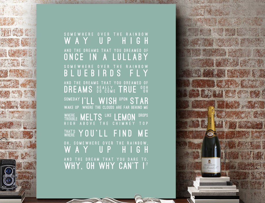 Eva Cassidy Somewhere Over The Rainbow Inspired Lyrics Typography Print