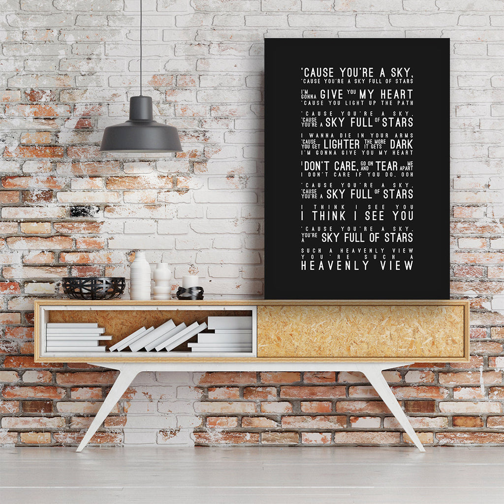 Coldplay A Sky Full Of Stars Inspired Lyrics Typography Print