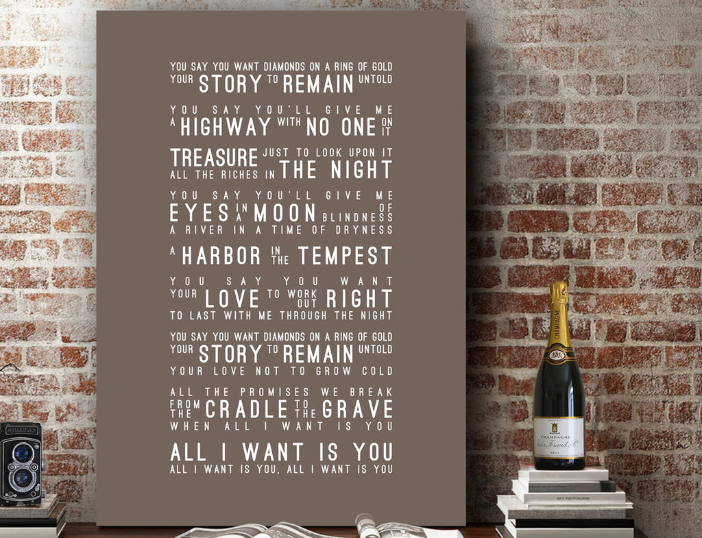 U2 All I Want Is You Inspired Lyrics Typography Print