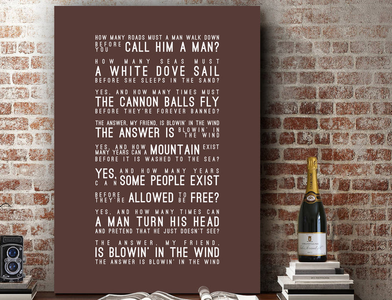 Bob Dylan Blowin' In The Wind Inspired Lyrics Typography Print