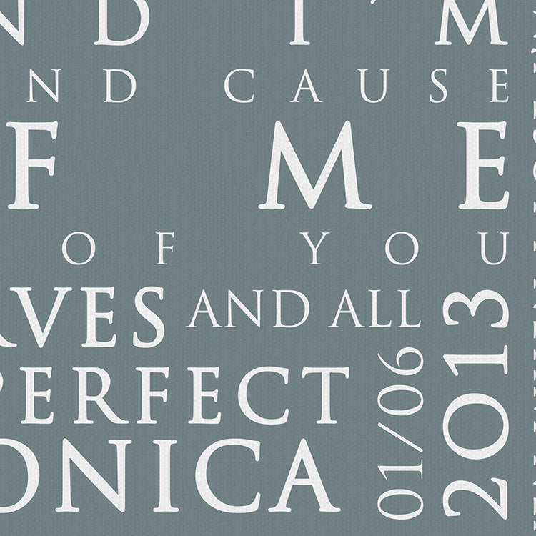 John Legend All Of Me Loves All Of You Inspired Lyric Art: Personalised Typography Print