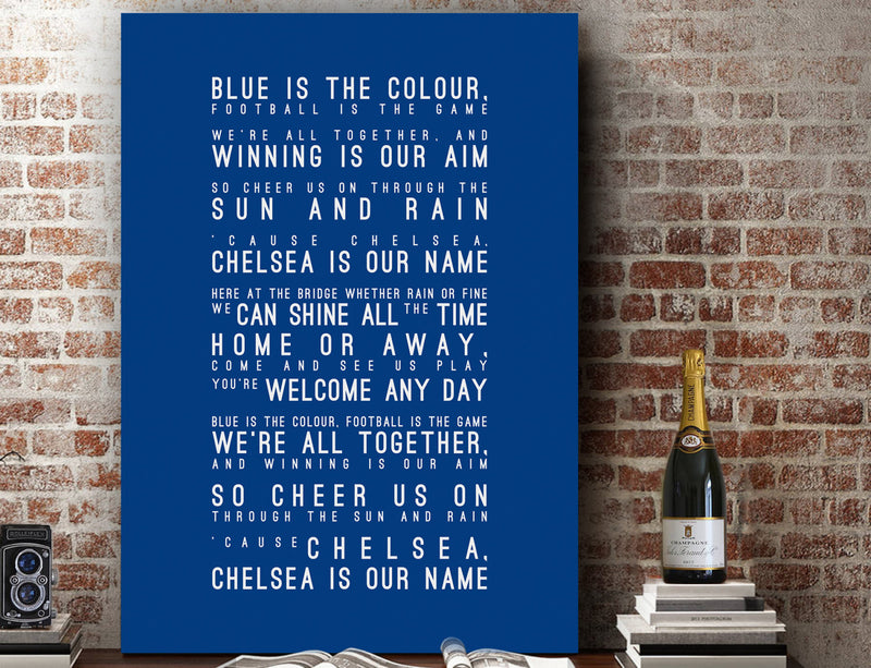Blue is the Colour Lyrics, Chelsea FC Inspired Lyrics Football Anthems Print