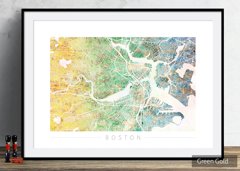 Boston Map: City Street Map of Boston Massachusetts - Sunset Series Art Print