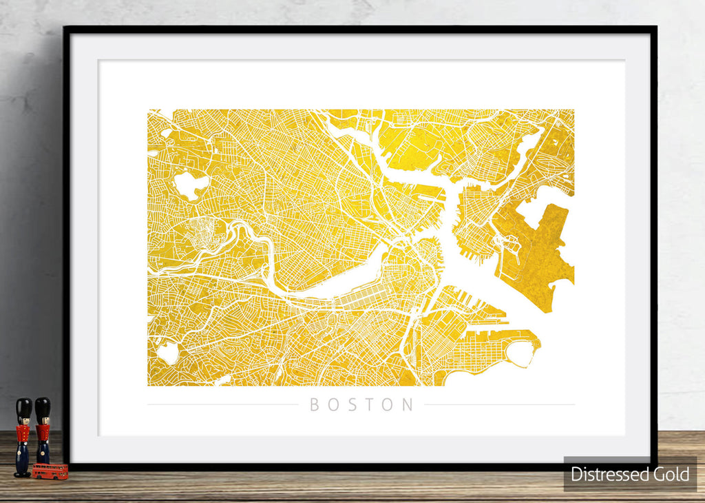 Boston Map: City Street Map of Boston, Massachusetts - Colour Series Art Print