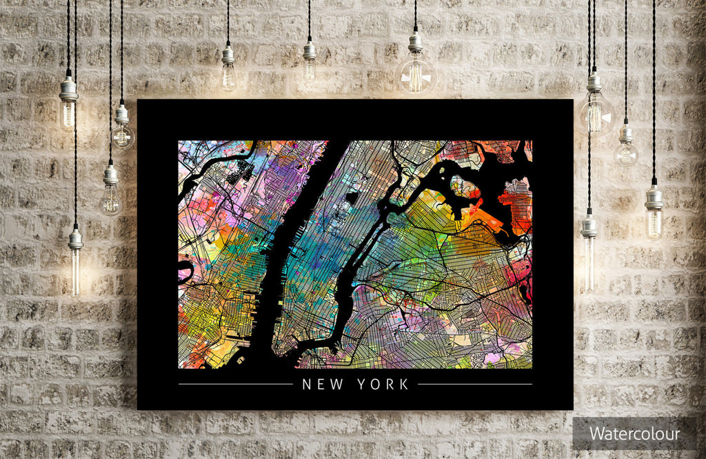 New York - City Street Map of New York - Sunset Series Art Print in BLACK