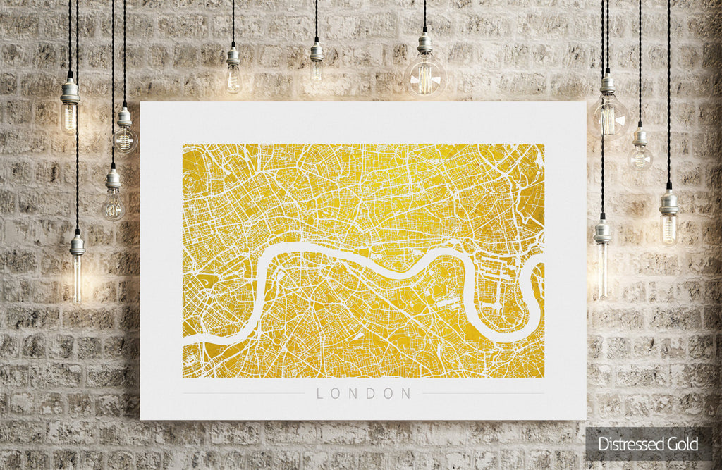 London Map: City Street Map of London England - Colour Series Art Print