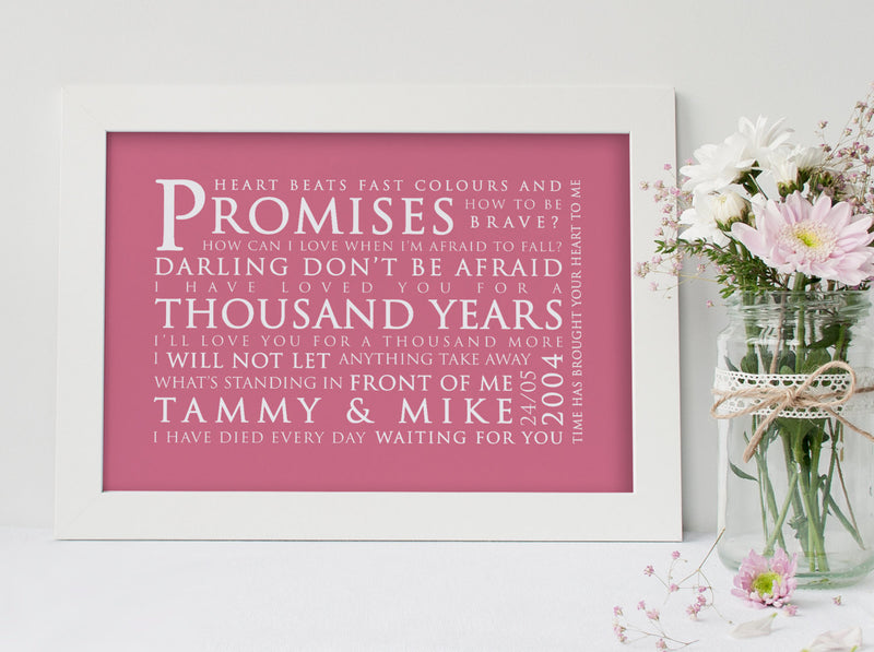Christina Perri A Thousand Years Inspired Lyric Art: Personalised Typography Print