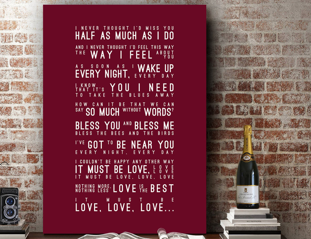 Madness It Must Be Love Inspired Lyrics Typography Print