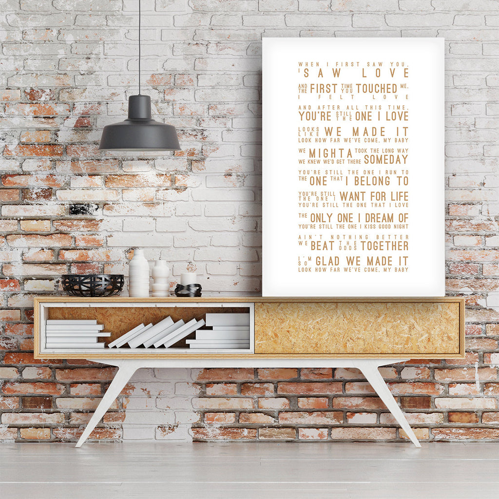 Shania Twain You're Still The One Inspired Lyrics Typography Print