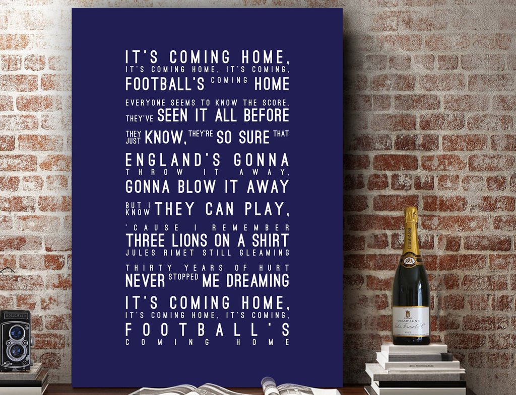 Three Lions Lyrics, England Football Inspired Lyrics Football Anthems Print