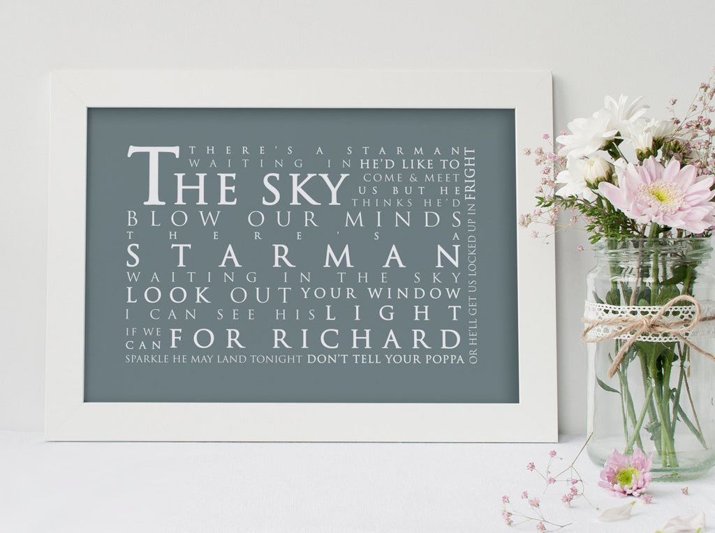 David Bowie Starman Inspired Lyric Art: Personalised Typography Print