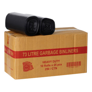 Bin Liners 73L Black on Rolls