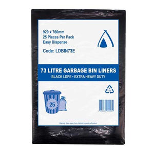 Bin Liners 73L Black Extra Heavy Duty