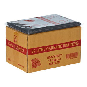 Bin Liners 82L Black Heavy Duty