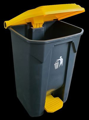Pedal Bin Black and Yellow 80Ltr