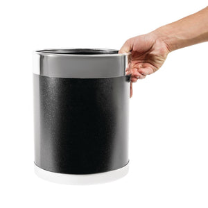 Bolero Black Waste Paper Bin with Silver Rim 10Ltr