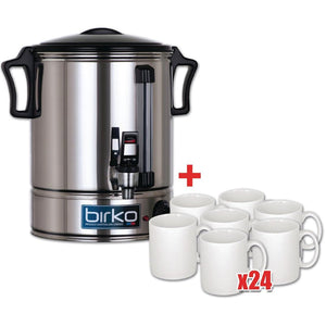 Birko 10Ltr Hot Water Urn & 24 Free Mugs