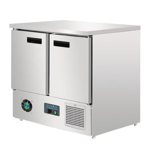 Polar 2 Door Counter Fridge 240Ltr Stainless Steel