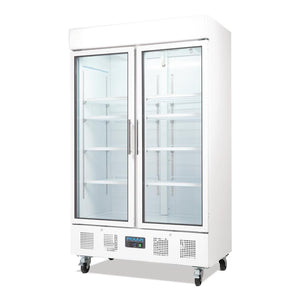 Polar Two Door Upright Display Cabinet 944Ltr White