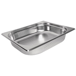 Vogue Stainless Steel Perforated 1/2 Gastronorm Pan 100mm