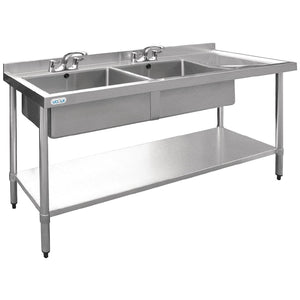 Vogue Double Bowl Sink R/H Drainer - 1500mm x 700mm  90mm Drain