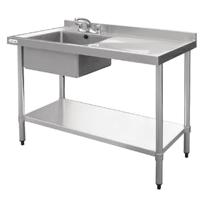 Vogue Single Bowl Sink R/H Drainer - 1200mm x 700mm 90mm Drain
