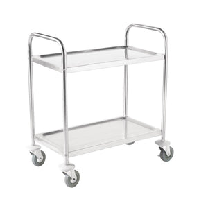 Vogue Stainless Steel 2 Tier Clearing Trolley Medium