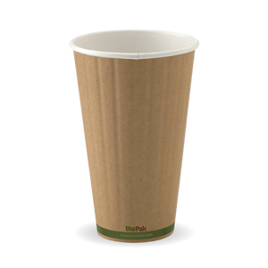 460ML / 16OZ (90MM) KRAFT GREEN STRIPE DOUBLE WALL BIOCUP