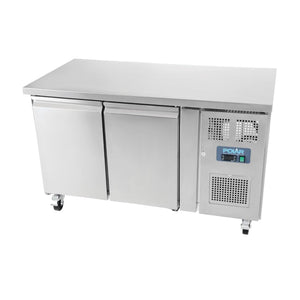 Polar 2 Door Counter Fridge 282Ltr Stainless Steel