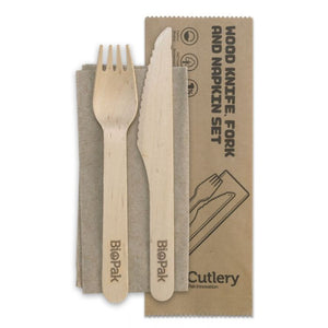 Biopak 16cm Wooden Fork Knife Napkin Coated Combo