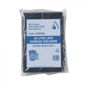 Bin Liners 82L Black Extra Heavy Duty