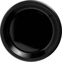 Plastic Plate Round Black 9 inch