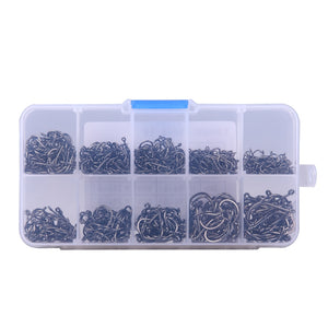Fishing hooks with a tackle box . 200 to 600 pieces , different sizes.