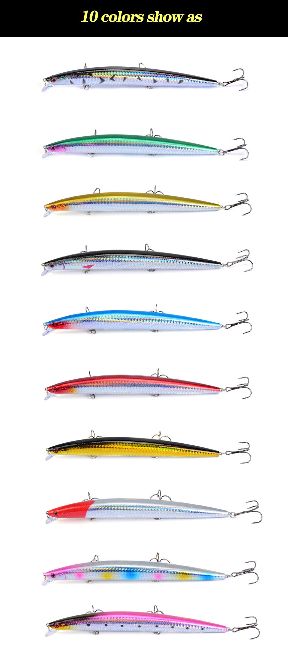 Minnow Fishing Lures 18cm/26g . 10 pieces.