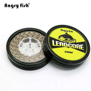 Angryfish Lead Core Carp Fishing Line 25Lbs 35Lbs 45Lbs 60Lbs 10Meters for Carp Rig Making Sinking Braided Line