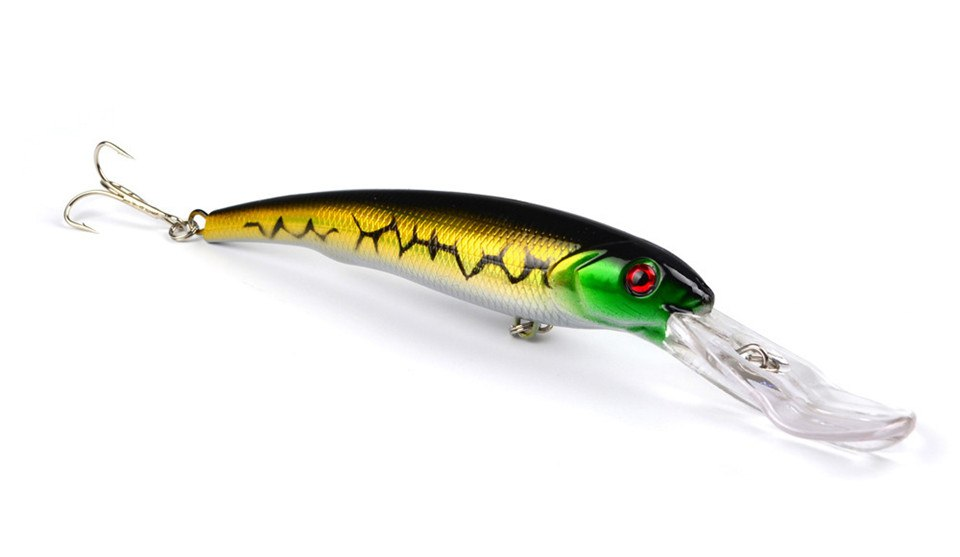 MINNOW FISHING LURES. High quality good sized lures. 27.5 gms in weight and 16 cm long. Plastic bait. 8 pieces per package.