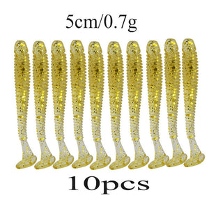 Plastic  lures .  . soft baits. 10 pieces per pack. Great value high quality.