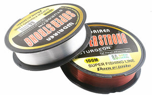 100% Nylon super strong fishing line. It is Not Fluorocarbon. Super strong and high quality. Made in JAPAN.