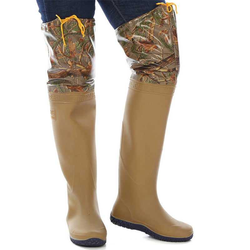 Camouflage Fishing boots   - 60 cm - PVC Waterproof - Soft Soles - over the knee - fishing boot waders