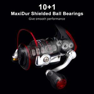 FISHING REEL : Water Resistant Carbon Drag Spinning Reel : with Large Spool 22KG Max Drag Freshwater Spinning Fishing Reel