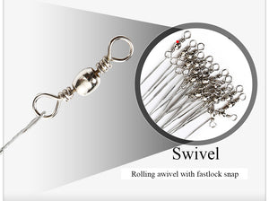 10pcs/lot Anti Bite Steel Fishing Line Steel Wire Leader With Swivel Accessory
