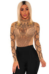 Khaki Black Rhinestone Faux Bustier Mesh Long Sleeves Bodysuit - Party Girl Fashion Exclusives