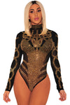 Black Gold Rhinestone Long Sleeves Bodysuit - Party Girl Fashion Exclusives
