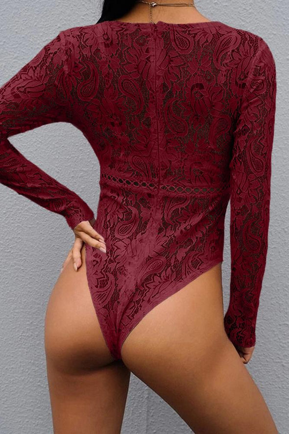 Red Deep V-Neck See Through Skinny Lace Bodysuit - Party Girl Fashion Exclusives