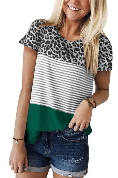 Green Block Striped and Leopard Short Sleeve Tee - Party Girl Fashion Exclusives